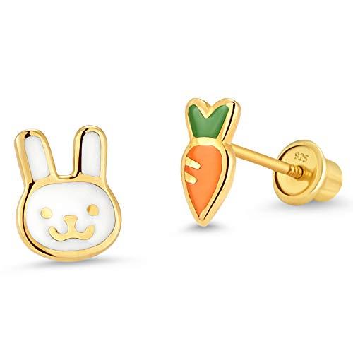 14k Gold Plated Enamel Rabit Carrot Baby Girls Earrings with Sterling Silver Post