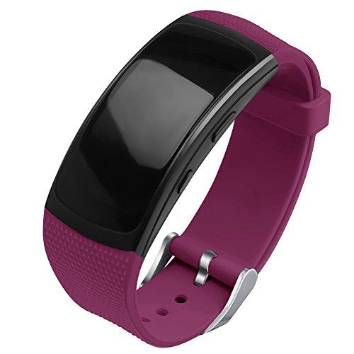OenFoto kompatibel Gear Fit 2 Pro/Fit 2 Armband, Ersatz Silikon Zubehör Gurt für Samsung Gear Fit 2 Pro SM-R365 / Gear Fit2 SM-R360 Smartwatch -Weinrot