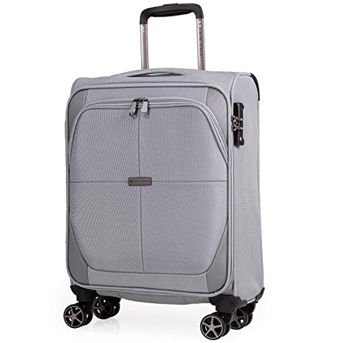 Soft Shell 21 Inch Suitcase with Wheels - Cabin Approved Jet2 EasyJet BA Luggage by Gino Ferrari | British Airways Fits 56x45x25 Hand Carry On | 21' 20 litres Light 2.1kg (Grey, Small)
