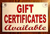 KARPP Gift CERTIFICATES Available Sign -Suction Cups 8x12 Plastic Coroplast Restaurant Business, Nostalgic, Retro, Vintage and Funny Signs