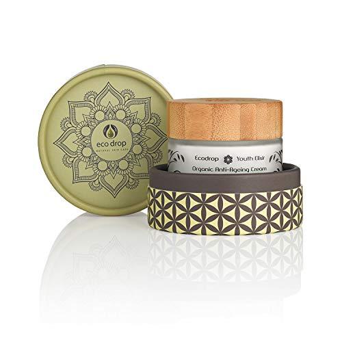 Ecodrop Organic Anti Ageing Cream | Crema Tratamiento Facial Antiedad Avanzada para Mujeres y Hombres | Completamente Natural | Con Ácido Hialurónico, Retinol y Aceite de Argán | Vegana