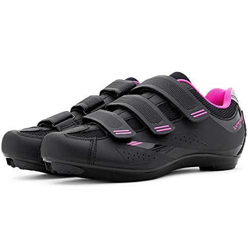 Tommaso Pista Women's Road Bike Cycling Spin Shoe Dual Cleat Compatibility - Black/Pink - 37