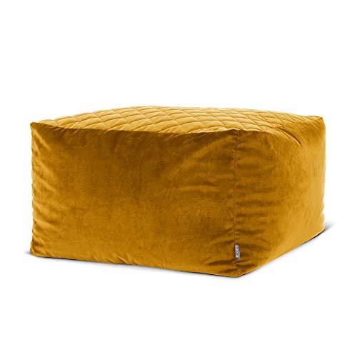 icon Cortado Quilted Velvet Bean Bag Pouffe, Large Velvet Ottoman, Living Room Bedroom Footstool Bean Bags