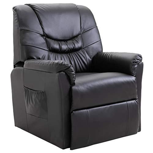 vidaXL Liegesessel TV Sessel mit Liegefunktion Fernsehsessel Relaxsessel Liege Relaxliege Liegestuhl Ruhesessel Polstersessel Schwarz Kunstleder