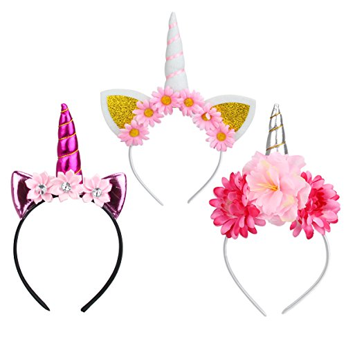 Diadema Unicornio,Unicornio Cuerno Diadema con Flores Artificiales Acc