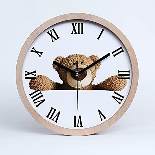 Tulup Reloj de Pared  25cm De Madera De Cuarzo Decoración Moderno Silencioso Relojes Manecillas Negro - Oso de Peluche