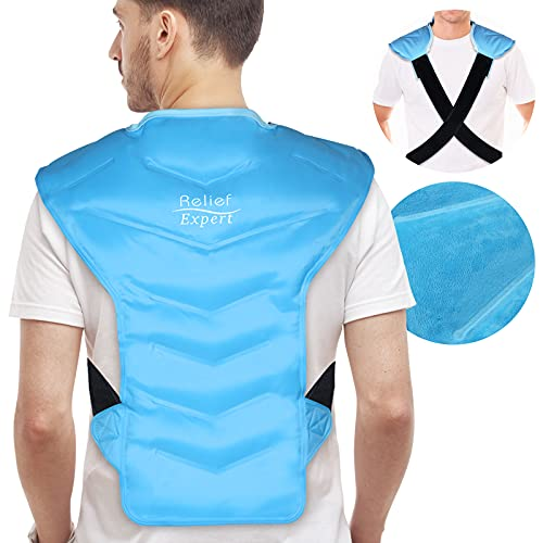 Relief Expert Large Full Back and Shoulder Rotator Cuff Ice Pack Wrap with Straps, Cold Packs for Injuries Reusable Gel, Cold Compression for Entire Back and Shoulders Pain Relief - Soft Plush Lining