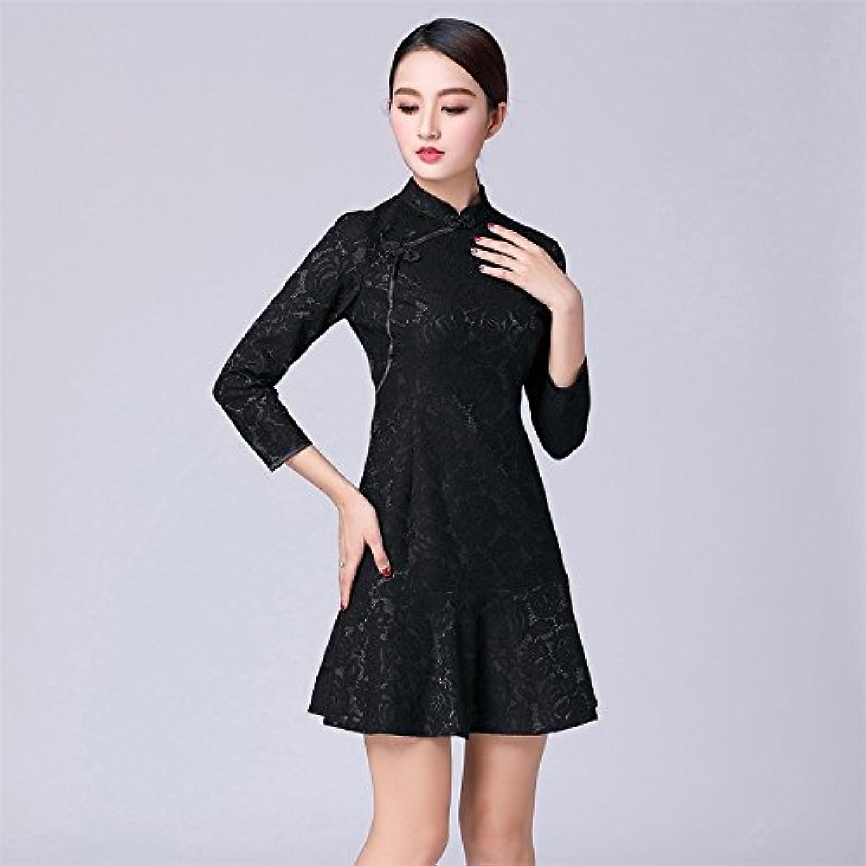 Kunzhang Dress Cheongsam Dress Female NinePoint Sleeve Modern Modified Fishtail Black, 2Xl