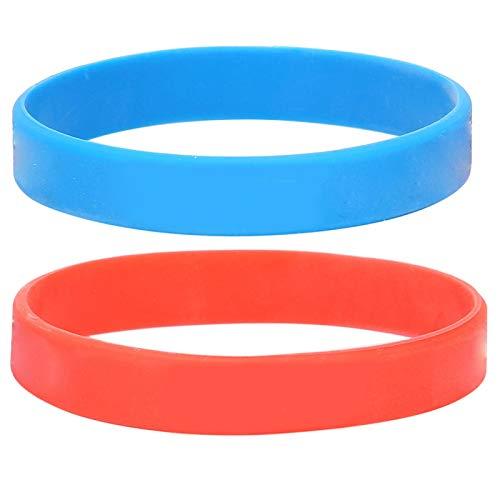 Pulsera de silicona, pulsera de adolescente adulta con decoración elegante pulsera de silicona, pulsera informal rojo + azul equipo deportivo simple y elegante para hombres mujeres