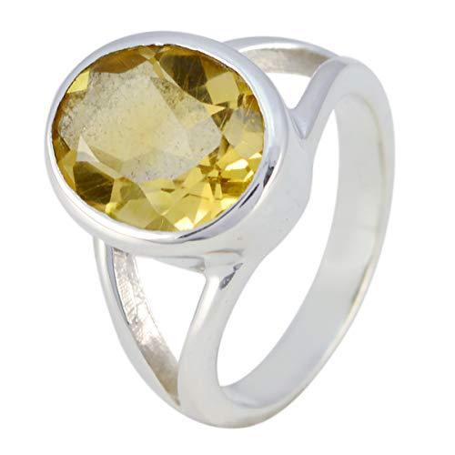 joyas plata piedras preciosas reales forma ovalada una piedra anillos citrinos facetados - anillo citrino amarillo plata esterlina - nacimiento de junio géminis