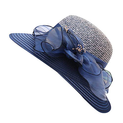Jamicy  Women's Organza Sun hat Sun hat top hat Basin hat Church Kentucky Cap Bridal Tea Party Wedding Hat Bucket Fisherman Hat (Navy)