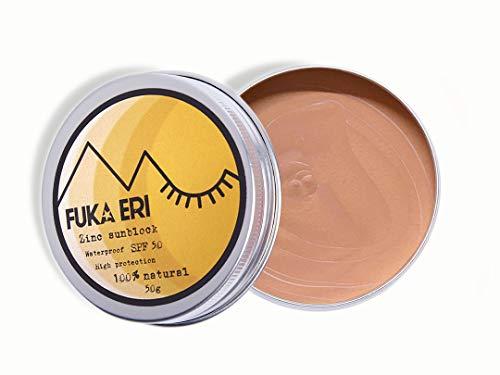 FUKA ERI Sonnencreme mit Zink non-nano. LSF 50+. Mineralische und natürliche zutaten. Farbige sonnenschutz. Vegan, wasserdicht. Gesicht und empfindliche Bereiche. Ohne Plastik. Verbesserte Formel.