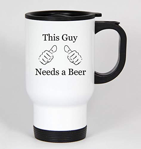 Deze kerel heeft een bier grappig 14oz wit reizen mok vader dag vader