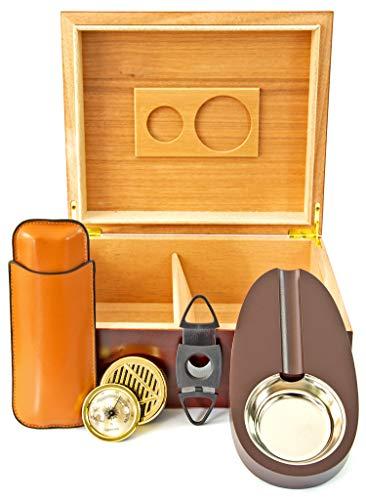 Powerfiller Humidor aus Zedernholz |inkl. Zigarrenschneider, Zigarrenascher & Zigarrenetui