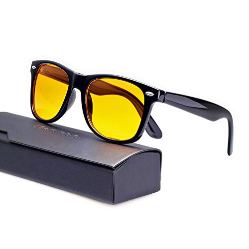 Merstoclo Blue Light Blocking Glasses Nerd Frame with Tinted Lens, Anti Eye Strain for Computer Gaming and Phone Use, Men/Women (Black Frame/Yellow Lens)