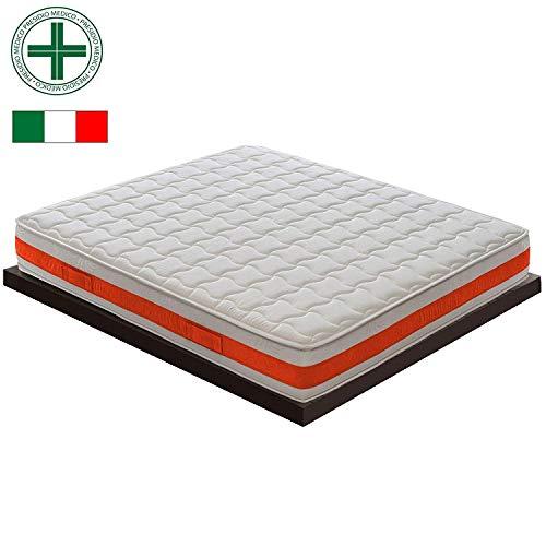 Materassiedoghe matras voor tweepersoonsbed van traagschuim met 11 verschillende zones, model: Eolie MyMemory, orthopedisch, gecertificeerd medisch medisch hulpmiddel klasse I, met elastische afvoer