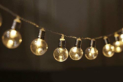Navidad, Luces de Fiesta de festón, 2.5M 20 Bombilla LED Luces Decorativas Globo de plástico Luces Decorativas Energía de la batería para Exteriores Luces Interiores Blanco cálido