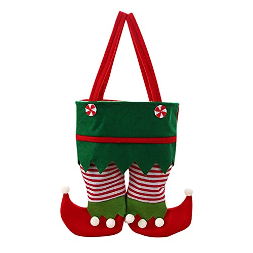 Sacchetti regalo di Natale con maniglie, Goodie Bags per bambini adulti, pantaloni da elfo Borsa da vino 2 bottiglie, sacchetto di stoccaggio di caramelle, fornitura di festa per feste