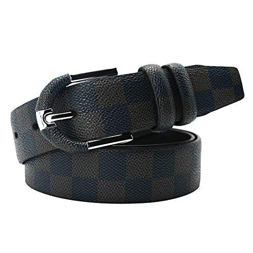 cintura,Ideale per jeans e abbigliamento casual e formale,Fibbia a fermaglio da uomo/fantasia a scacchi in microfibra antigraffio/pantaloni sportivi outdoor sportivi con cintura, nera, 120cm