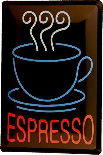 Tin Sign Blechschild 20x30 Espresso Kaffee im Piktogramm Style zur Dekoration von Bistro Caffee Bar Kneipe Pub Gastronomie Party Raum Küche UVM