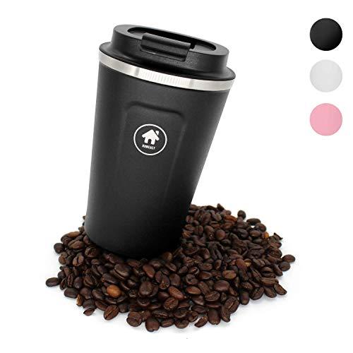 homeAct Thermobecher Kaffeebecher für unterwegs Coffee to go 380ml | 100% auslaufsicher aus Edelstahl mit Doppelwand Isolierung | BPA freier Travel Mug für Kaffee oder Tee (Schwarz)