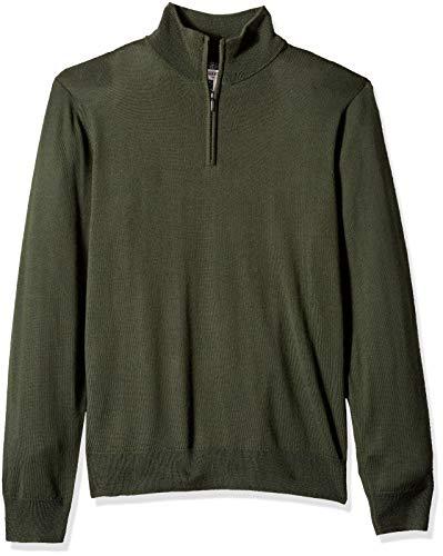 Amazon Brand - Goodthreads Men's Lightweight Merino Wool Quarter Zip Sweater, Olive, X-Small