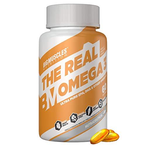 Bigmuscles Nutrition Omega-3 Fish Oil Triple Strength | 2 months supply | 1000mg (180mg EPA; 120mg DHA; 100mg Other Omega 3 Fatty Acids) | High Strength DHA EPA Supplement |Mercury Free