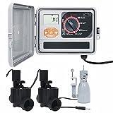 Gawany Controlador riego con Sensor de Humedad y válvula solenoide Programador Riego Automatico Jardin Temporizador Sistema de Riego Control Riego