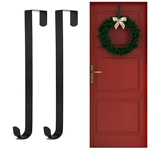 Larchio Wreath Hangers for Front Door, 2 Pack Metal Wreath Hooks 12inch Over the Door Holder for Christmas Halloween Fall Wreath Decor