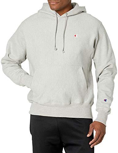 Champion Men's Reverse Weave Left Chest C Pullover, Oxford Gray, LARGE