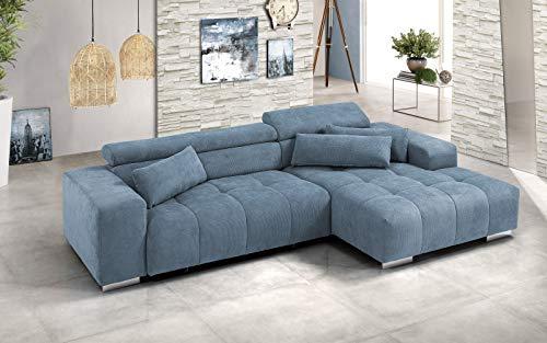 Dafne Italian Design - Sofá cama esquinero de 2 plazas con chaise longue a la derecha Tejido azul (cm. 303 x 185 x 88h