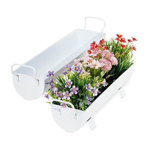 Relaxdays Blumenkasten Dachrinne, 2er Set, für Garten & innen, Vintage Design, Eisen, Metallwannen zum Bepflanzen, weiß
