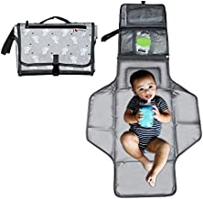 Kiddibean Clutch Diaper Changing Pad - Waterproof Baby Travel Changing Station –Portable and Easy to use - Built-in Head Cushion – Multiple Pockets - Cute Grey Elephant Print