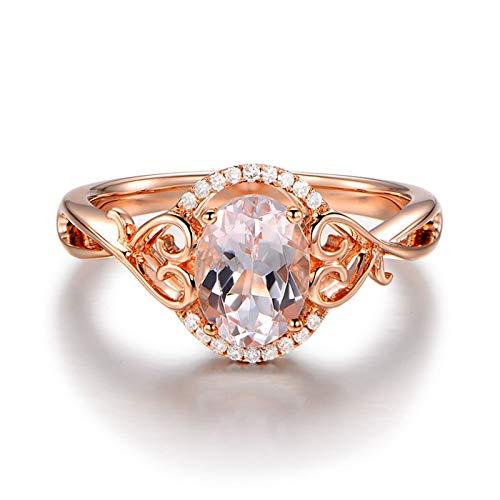 AueDsa Anillo Mujer Oro Rosa Anillos de Oro Rosa 18K Mujer Oval con Corazón Morganita Rosa 1.3ct Diamante 0.04ct Talla 6,75-25