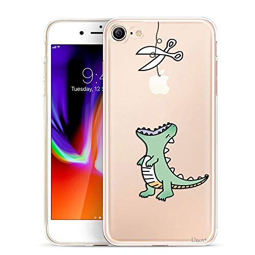 Unov Case for iPhone 8 iPhone 7 Clear with Design Embossed Pattern TPU Soft Bumper Shock Absorption Slim Protective Back Cover 4.7 Inch (Dinosaur)