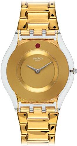 Swatch Reloj analógico para Mujer con Correa de Acero y Carcasa de plástico Suizo, Esfera Dorada, SFK399G