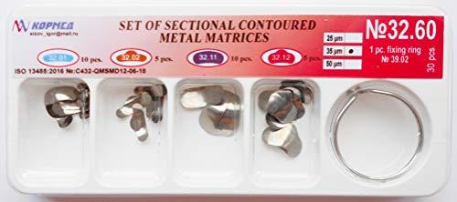 32.60-35 mkm Dental Kit of Metal Sectional Contoured Matrices Matrix (30 pcs. + ring)