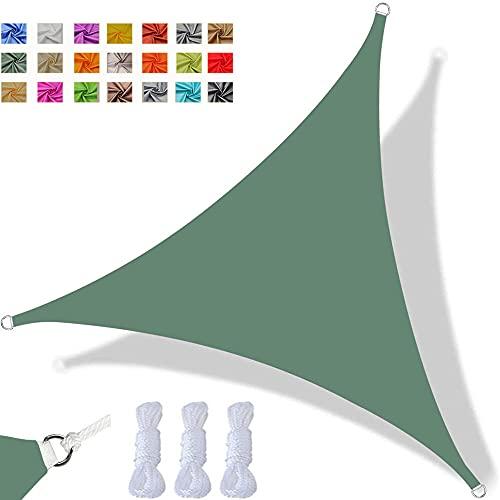 Toldo Vela De Sombra Triangular Impermeable Toldo con Protección UV, Tela Oxford Resistente, Utilizada para Fiestas En Terrazas En El Jardín Al Aire Libre, con Cuerda (2x2x2m,Verde Oscuro)