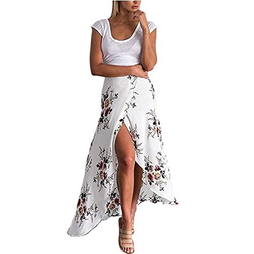 Geagodelia Jupe Longue Bohème Fleurie d'été pour Femme Maxi Jupe Décontractée Fendue Devant Taille Haute Jupe Chic Wrap de Plage Robe Vacances Paréo Plage (Blanc, M)