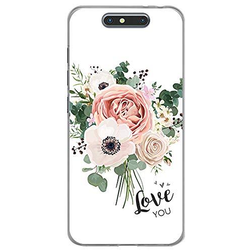 BJJ SHOP Transparent Hülle für [ ZTE Blade V8 ], Klar Flexible Silikonhülle, Design: Blumenstrauß, Love You