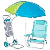 Pack de Silla Playa con cojín de Aluminio y textileno Aguamarina, sombrilla de Ø 180 cm. y Carro portasillas - LOLAhome