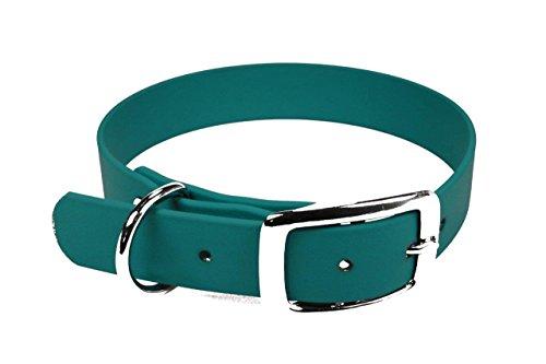 LENNIE BioThane Halsband, Dornschnalle, 25 mm breit, Größe 38-46 cm, Petrol/Teal, Aufdruck möglich