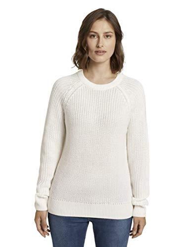 TOM TAILOR Denim Damen Strickpullover Basic Halfcardigan, Cremefarben (10332-Off White), XL