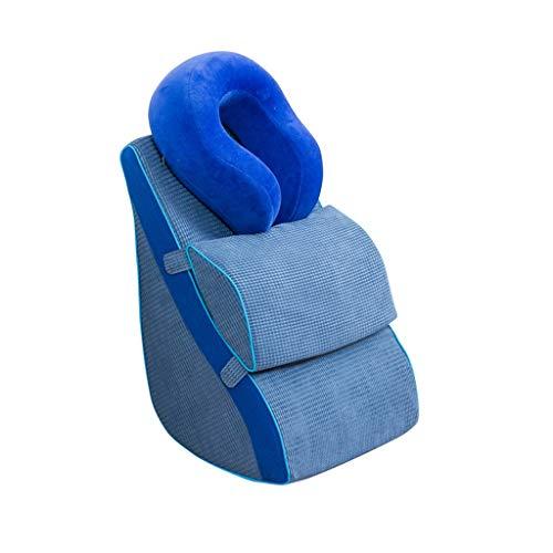 DUHUI Almohada de Lectura | El sofá Almohada | Almohada de cuña para Cama y sillón | Apoyo para la Espalda | Almohada Lumbar, extraíble (Color : Blue-B)