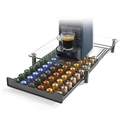 HiveNets Nespresso Portacapsule da Caffè Cassetto per Capsule Supporto di Metallo Vetro Temperato per 60 pz