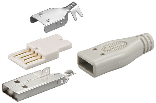 5er Set USB A Stecker - Lötversion inkl. Tülle