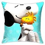 LIUYAN Kissenbezug Snoopy umarmt Woodstock Dekorativer Kissenbezug Sofa Sitz Auto Kissenbezug weich...