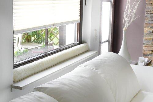 Zugluftstopper für Fenster aus 100% Schurwolle, natur, 100x10x5cm