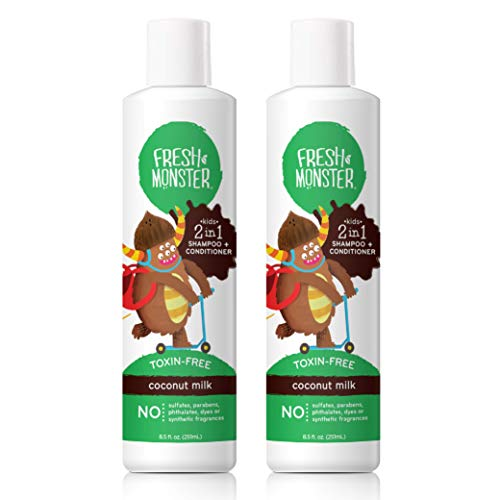 Product Image of the Fresh Monster Toxin-Free Hypoallergenic 2-in-1 Kids Shampoo & Conditioner,...