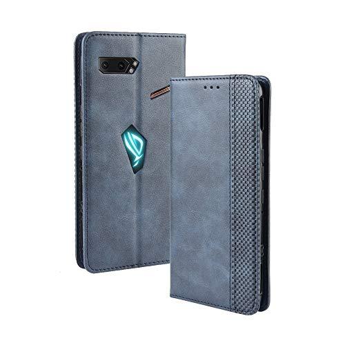 SPAK Asus ROG Phone II Hülle,Premium Leder Geldbörse Flip Schutzhülle mit Magnetschnalle Cover für Asus ROG Phone II (Blau)